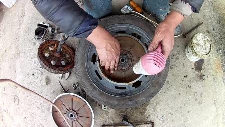电动车维修拆电机换轴承全过程第3集