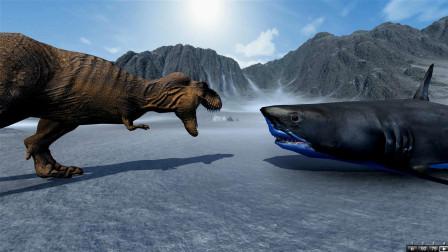 野兽战争模拟:霸王龙和巨齿鲨到底谁更能厉害?这个视频来告诉你