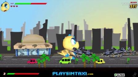 侏罗纪世界游戏第15期:掠食哥罗龙怪物小恐龙摧毁城市逃出恐龙公园