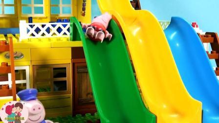 搭积木, 小猪猪游乐场, 小猪猪滑滑梯, 小臭臭亲子游戏