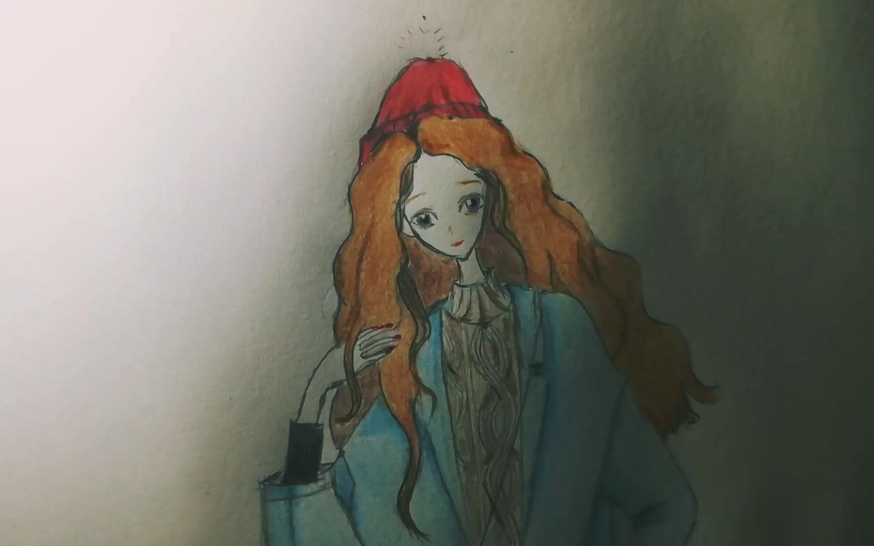 【手绘】女孩、彩铅画
