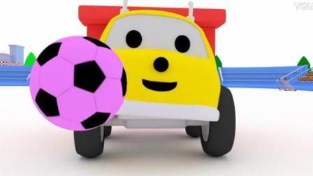 亲子益智卡通 恐龙宝贝戴诺和水泥搅拌机一起倒小球 翻斗车伊森踢彩色足球
