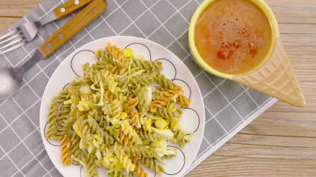 通心粉鸡蛋沙拉配土豆番茄汤|太阳猫早餐