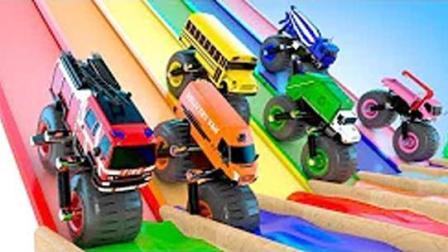 巨型滚轮车越野竞速染色游戏挖掘机推土机吊车大卡车汽车总动员动画片中文版