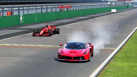 法拉利最快超跑单挑F1赛车,6.3升V12还跑不过1.6升V6?