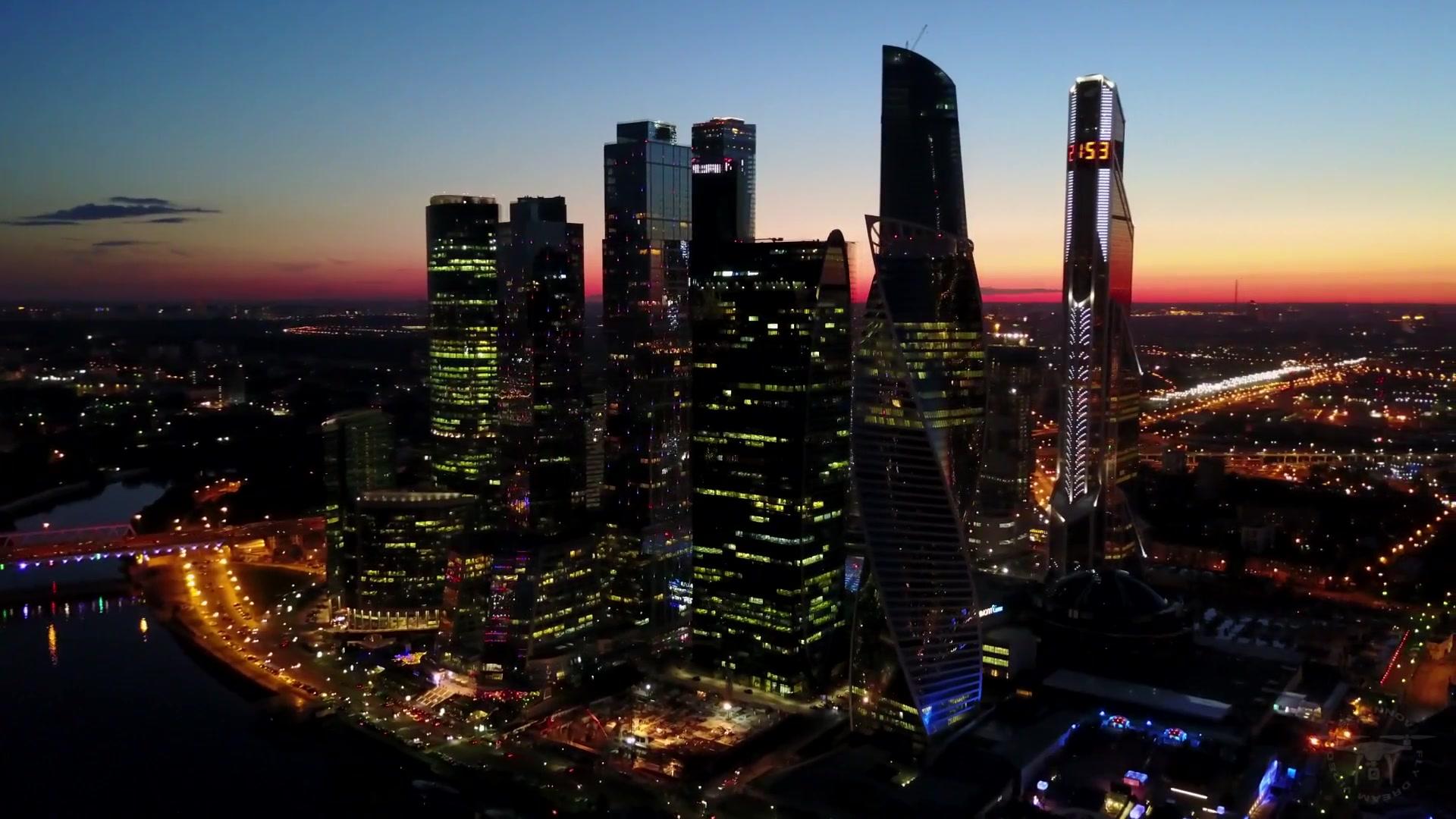 莫斯科天际线航拍-Москва-Сити