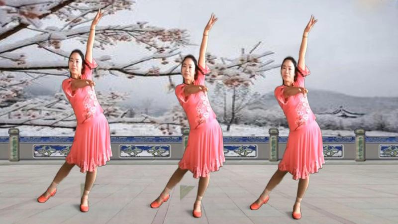 刘柯君广场舞《冰雪天堂》原创中三步附分解背面演示