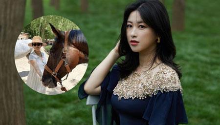 朱珠与老公甜蜜逛马场